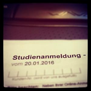 Studienanmeldung 2016