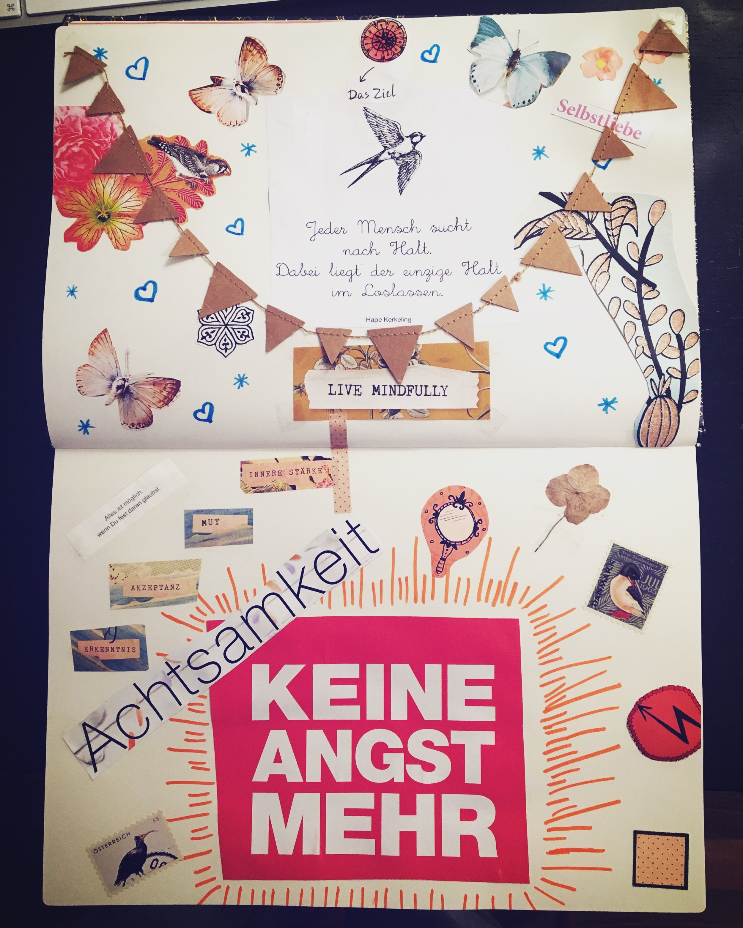 Collage Thema Verlustangst / Achtsamkeit